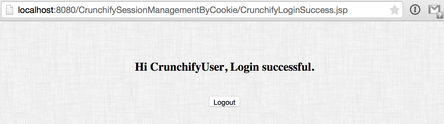 Crunchify Cookies Tutorial - Login Successful