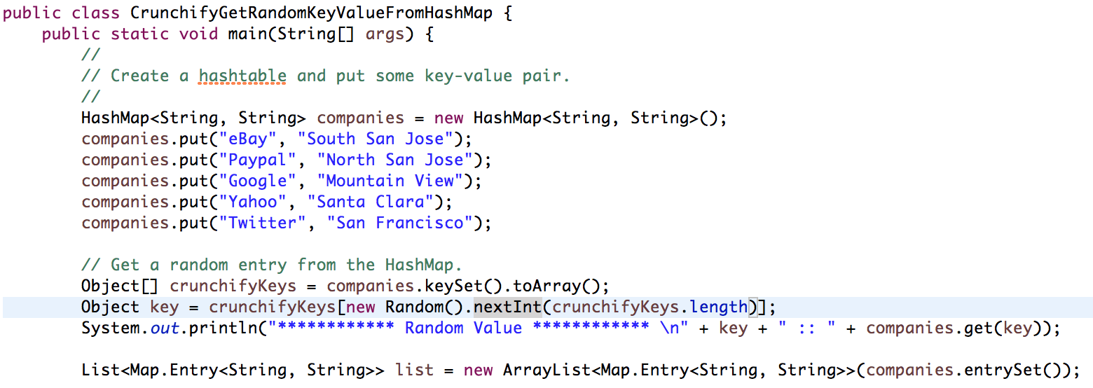 Hash Map Java Java: How to Get Random Key Value Element From HashMap • Crunchify