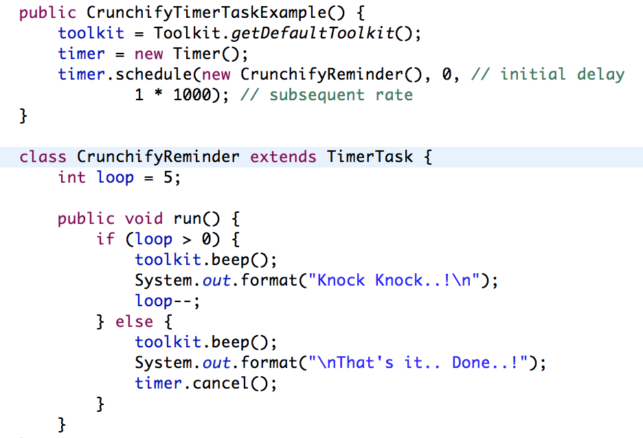 Java Timer and TimerTask - Reminder Class Tutorials Example • Crunchify