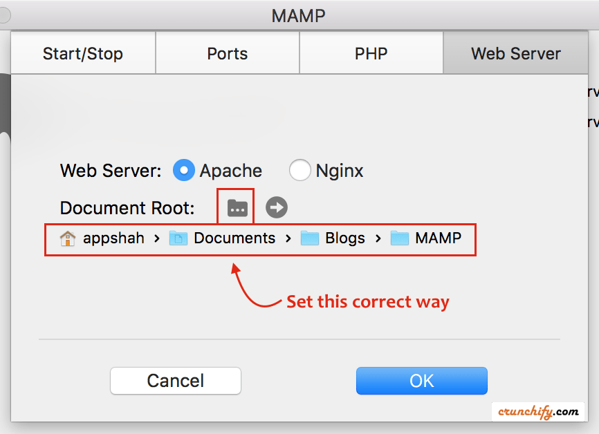 Setup Document Root for MAMP on Mac- Crunchify Tips