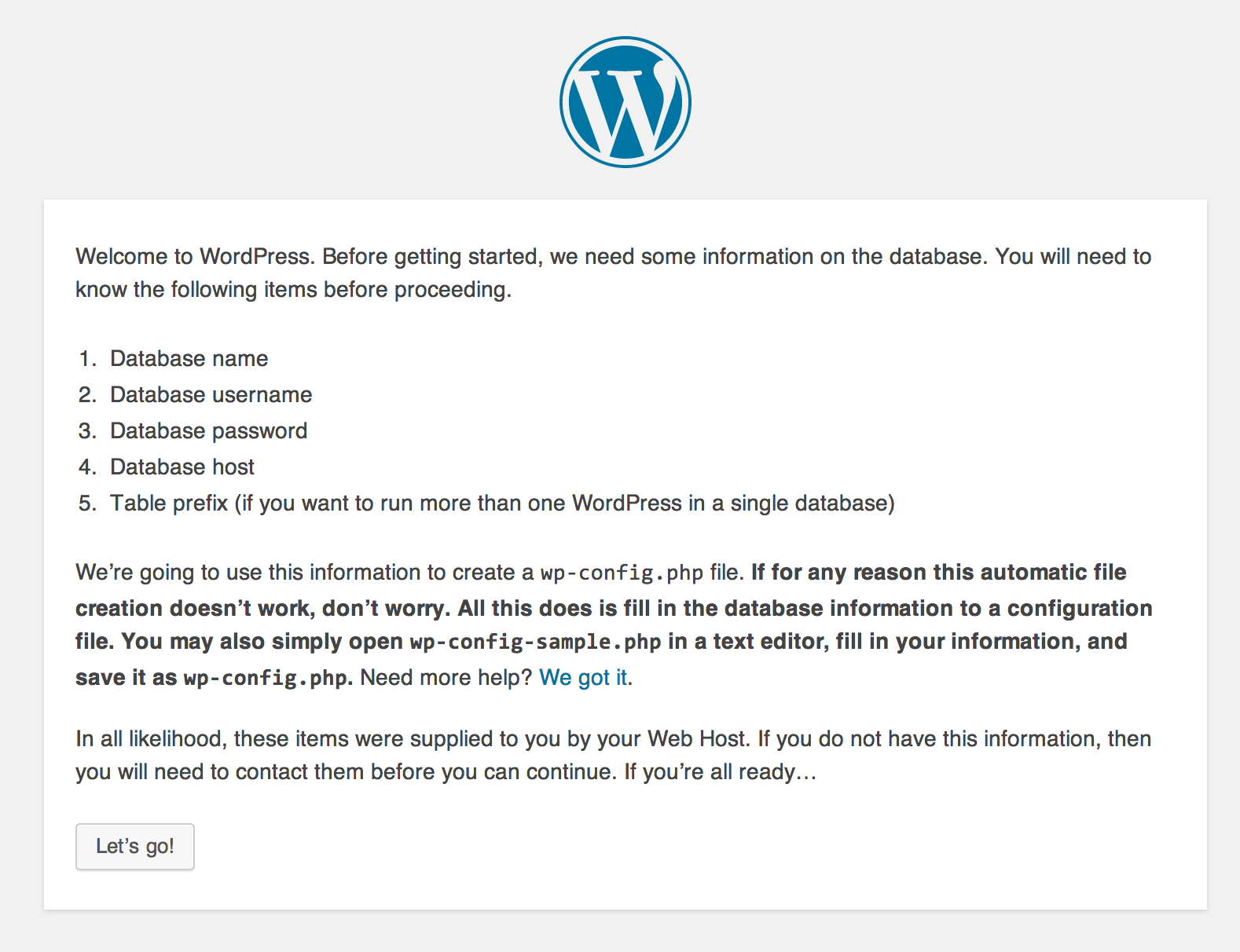 WordPress Installation - Begin Installation