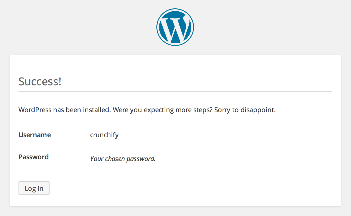WordPress Installation - Successful Message