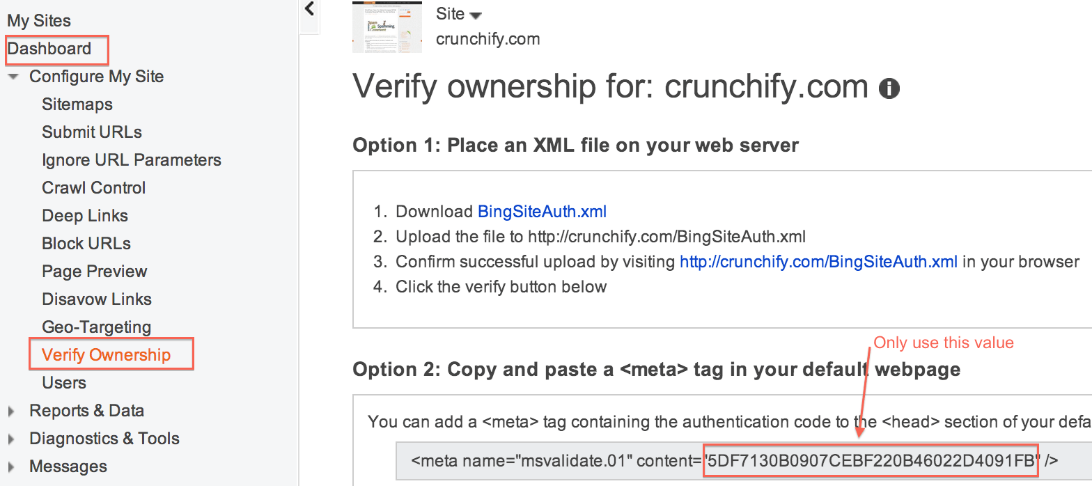 Bing Webmaster Tool - Crunchify Tips 3