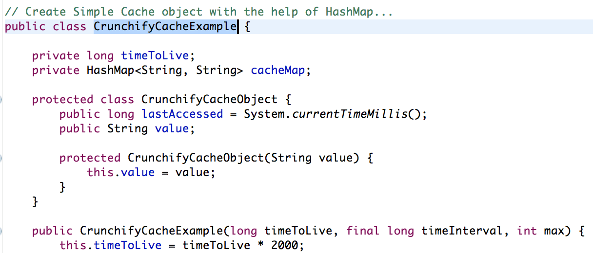 Java In Memory Cache using Hashmap