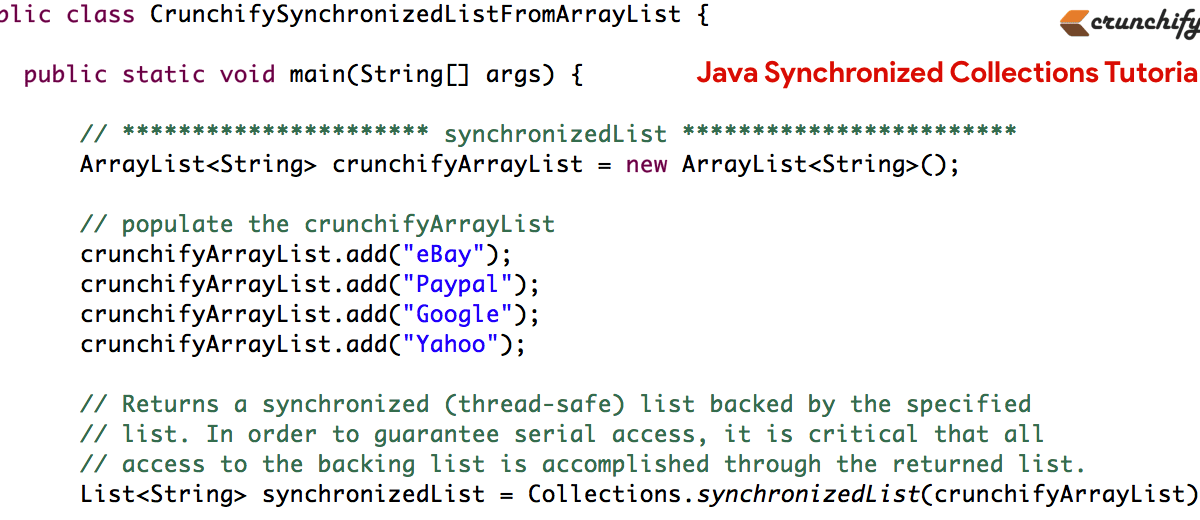 What is Java Synchronized Collections? Complete Tutorials using java.util.Collections