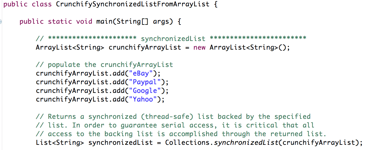 Java Synchronized Collections