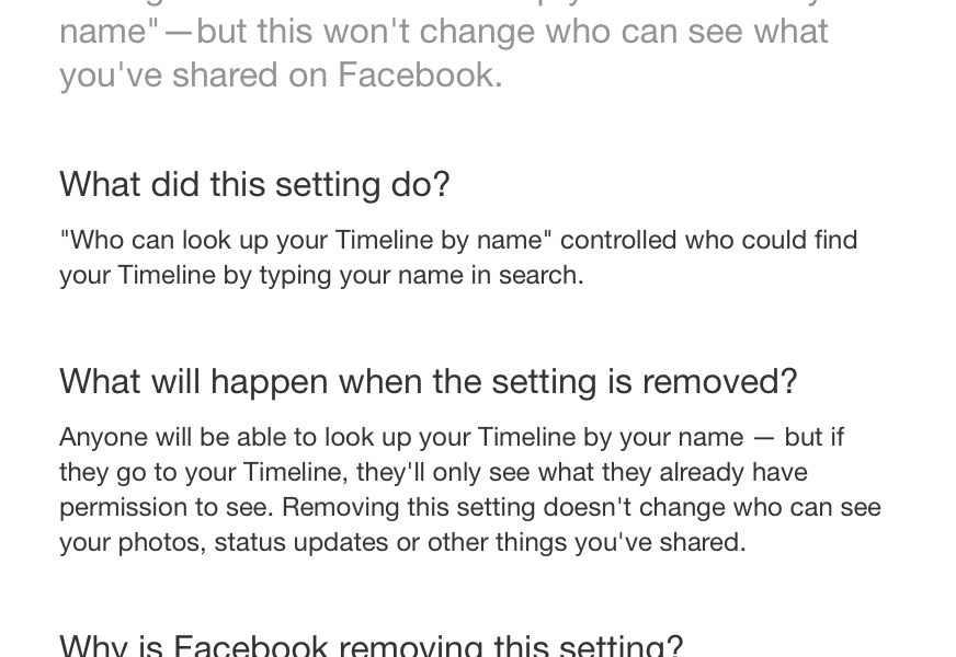 Facebook: Who Can Look up Your Timeline by Name – Old Facebook Setting is Going Away