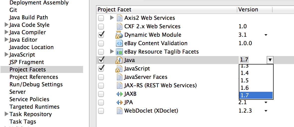"How to solve ""Dynamic Web Module 3.1 requires Java 1.7 or newer"" in Eclipse"