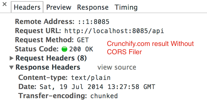 Crunchify Response Header Without CORS Filter