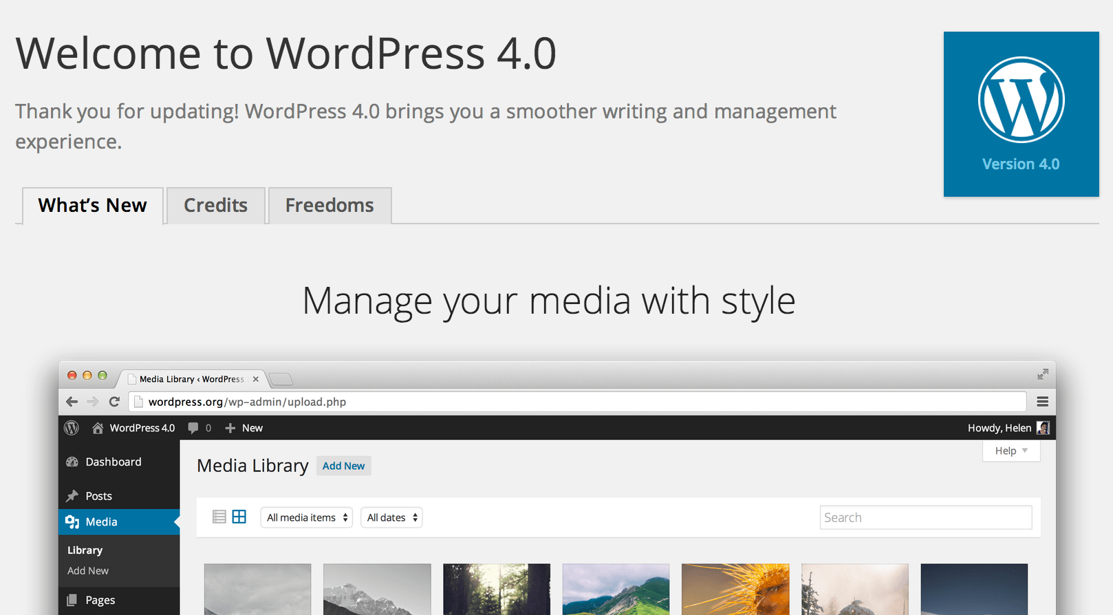 WordPress 4.0 Welcome Screen