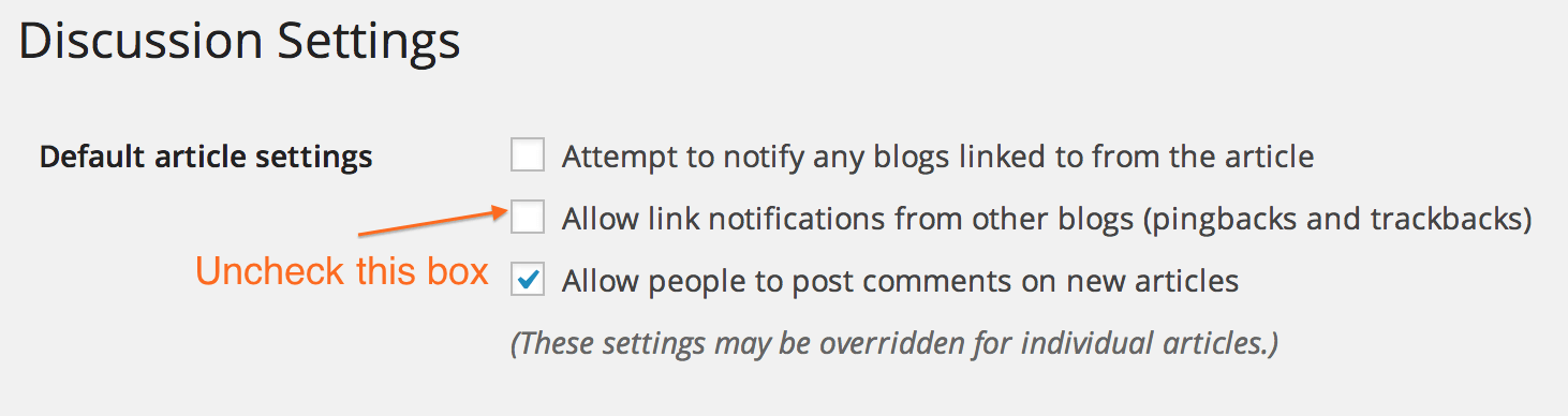 Allow link notifications from other blogs (pingbacks and trackbacks)