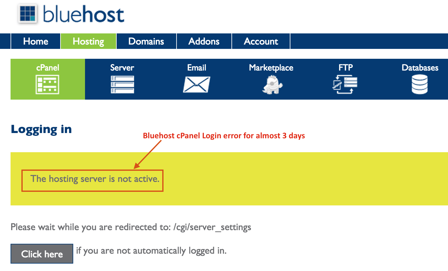 Bluehost SAN issue - cPanel Down