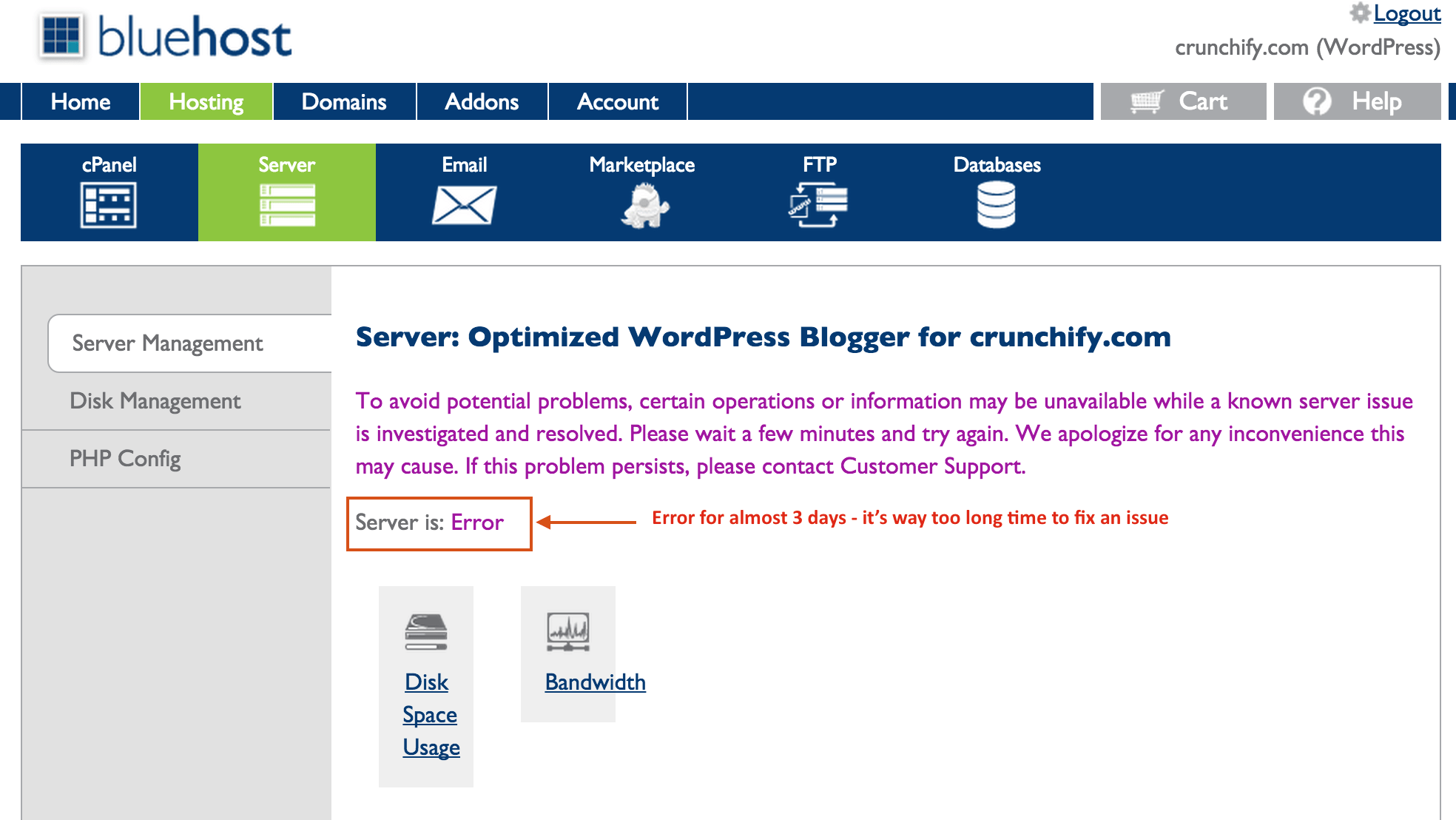 Bluehost cPanel VPS issue - Server down Error