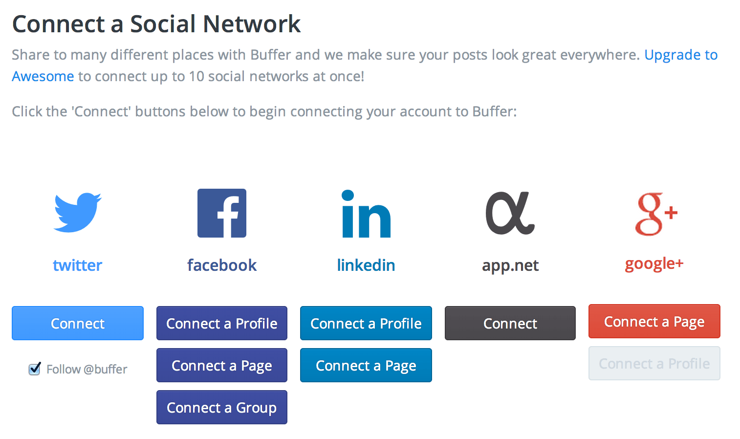 Connect a Social Media - BufferApp