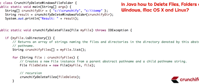 In Java how to Delete Files, Folders on Windows, Mac OS X and Linux?