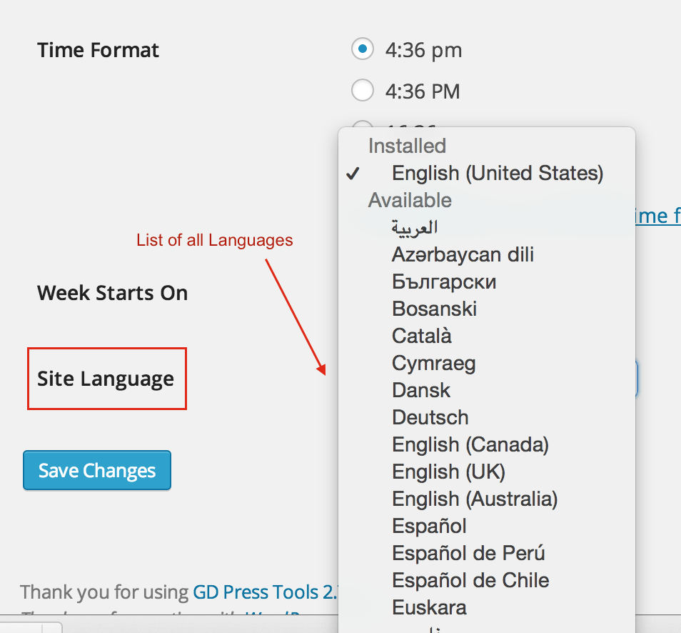 WordPress 4.1 - Language Selection