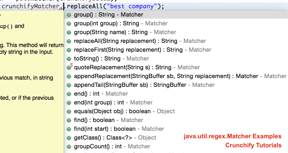 Java Matcher APIs tutorials by Crunchify