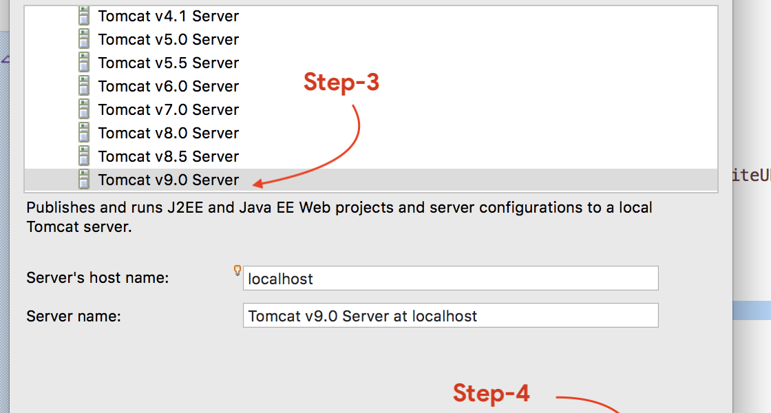 Choose Eclipse, Server Tab, Add Server, Select Apache Tomcat
