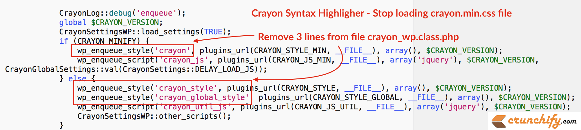 Crayon Syntax Highligher - Stop loading crayon.min.css file
