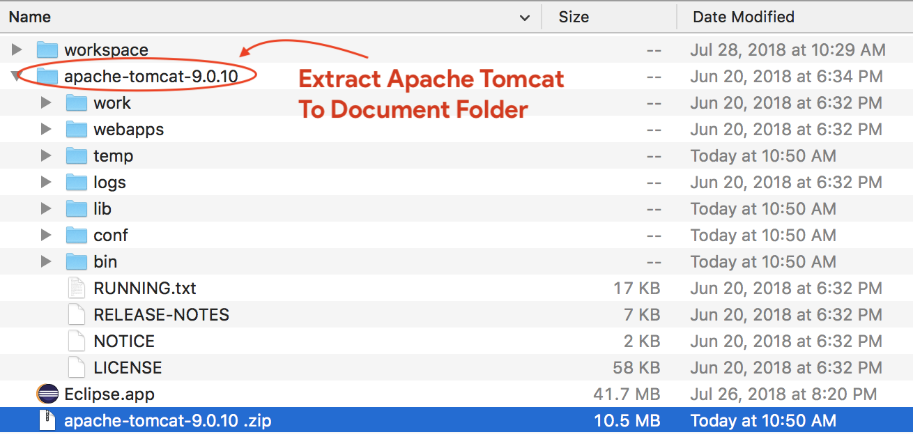Extract Apache Tomcat To Document Folder