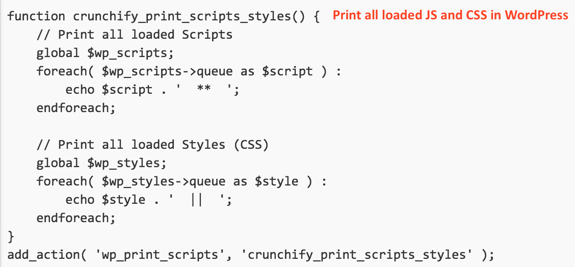 Print all loaded JS and CSS in WordPress