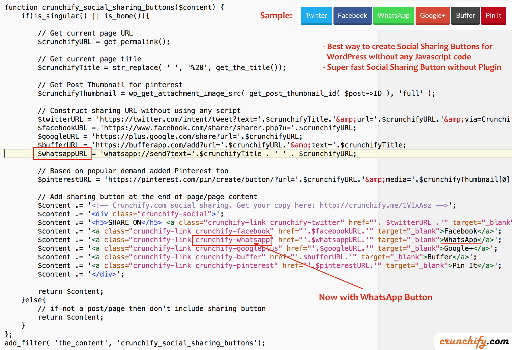 Best Way To Create Social Sharing Button With Javascript Crunchify Settings
