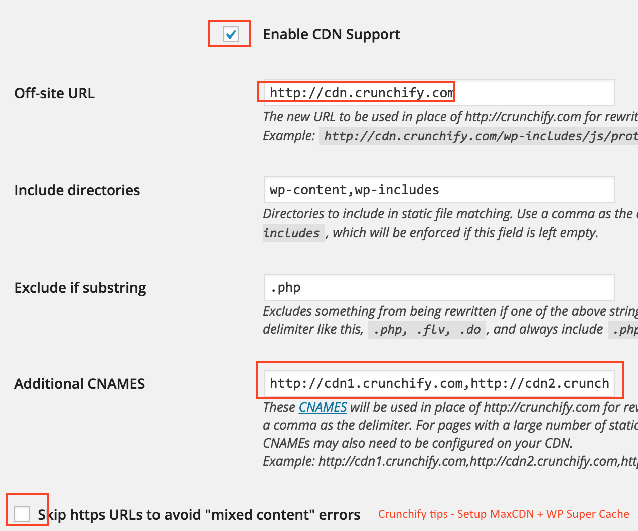 Crunchify.com CDN Setting for WP Super Cache