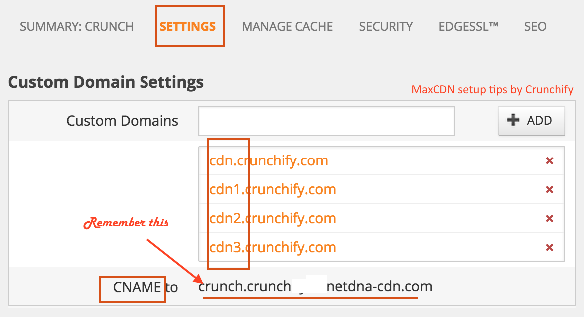 MaxCDN Custom Domain setting