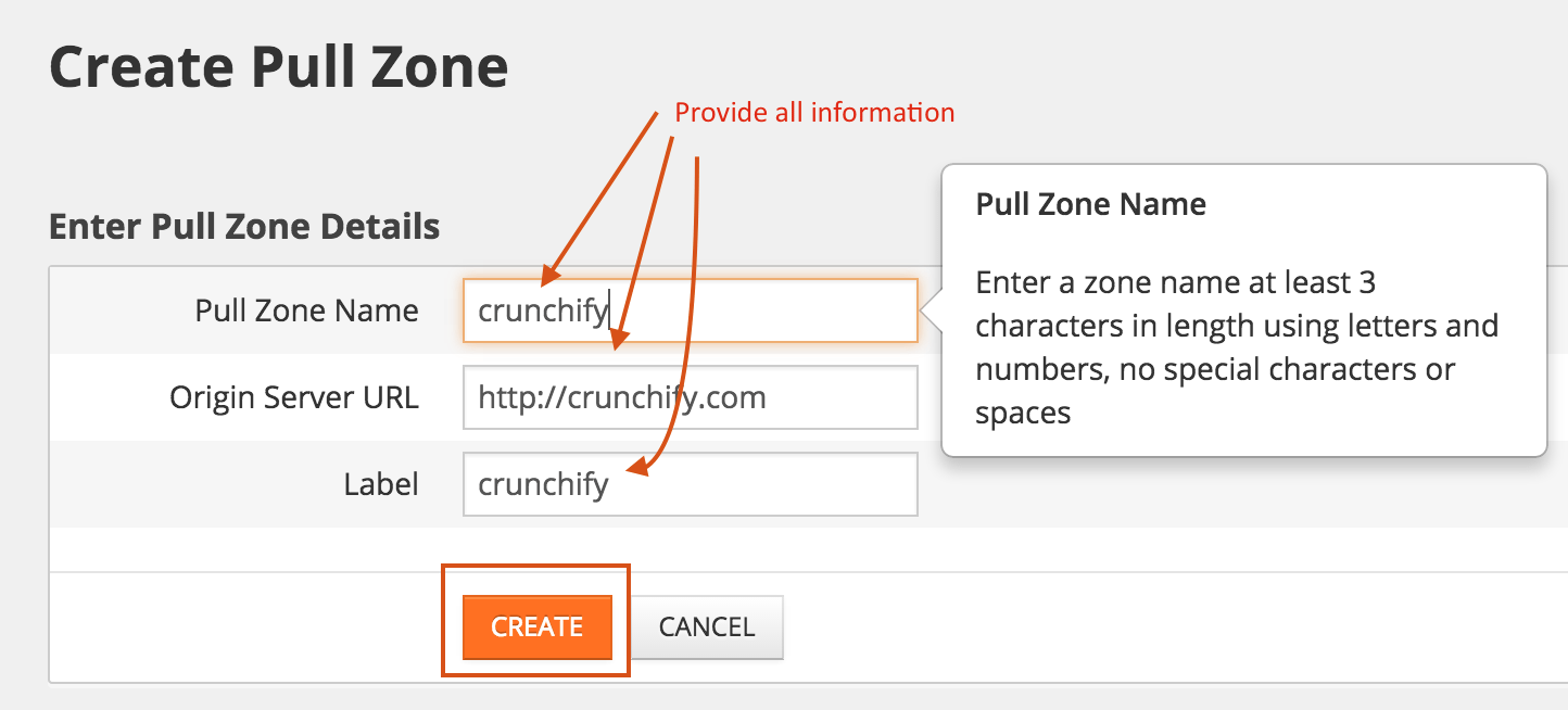 Provide all MaxCDN create zone settings