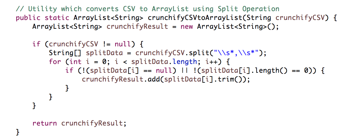 CSV to ArrayList - Crunchify Tutorial