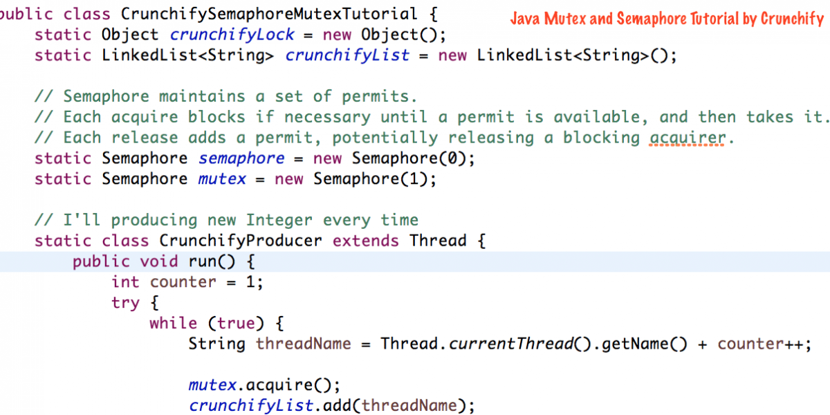 What is Java Semaphore and Mutex – Java Concurrency MultiThread explained with Example