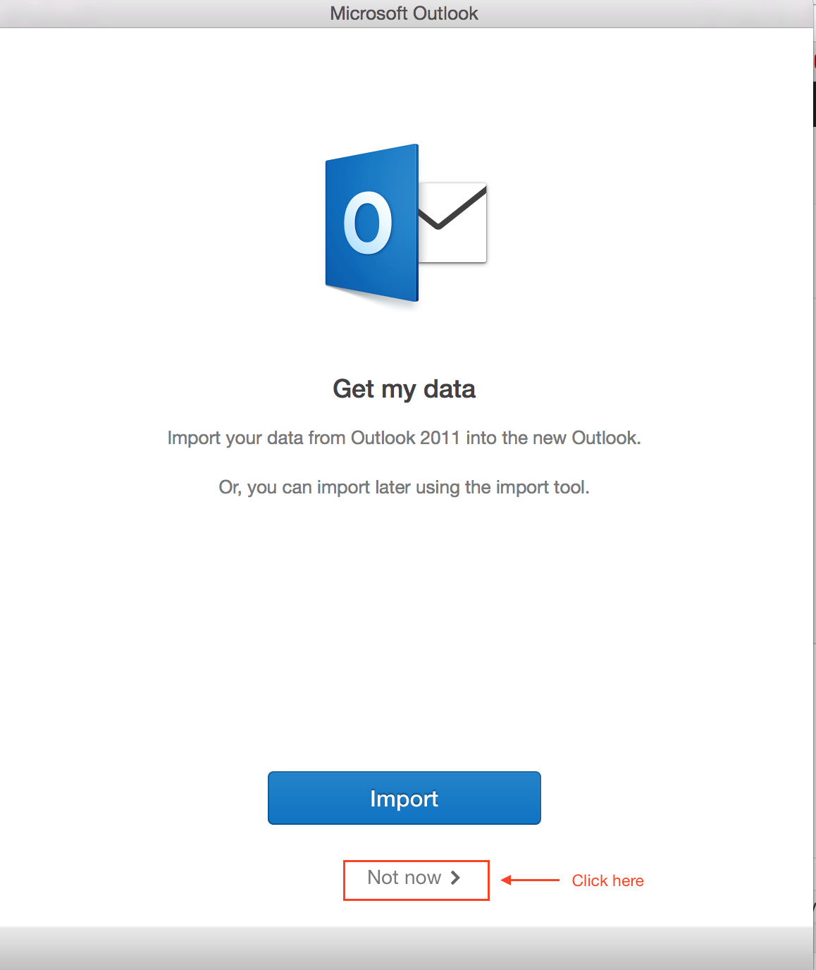 Office 2016 for Mac Import Screen