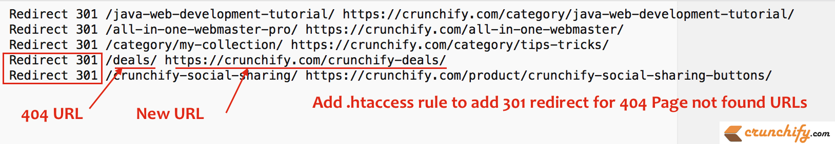 Add htaccess rule to add 301 redirect for 404 Page not found URLs - Crunchify
