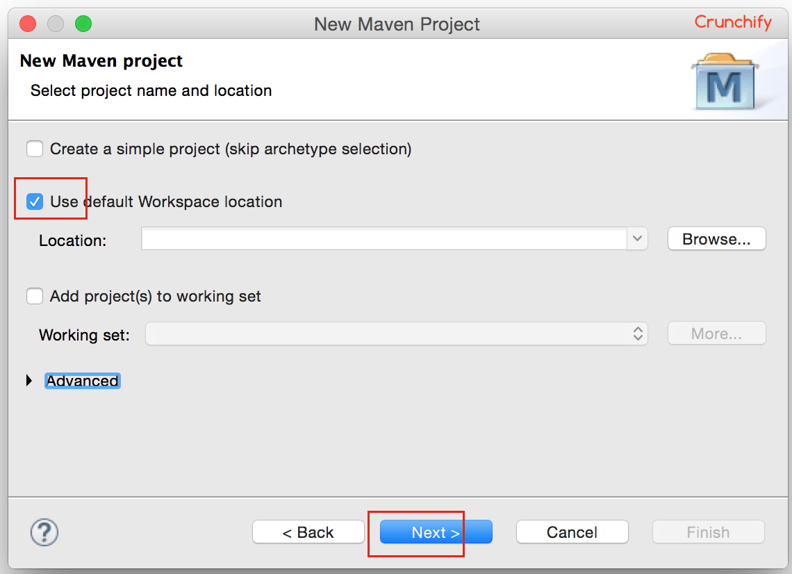 New Maven Project - Use Default Workspace Location