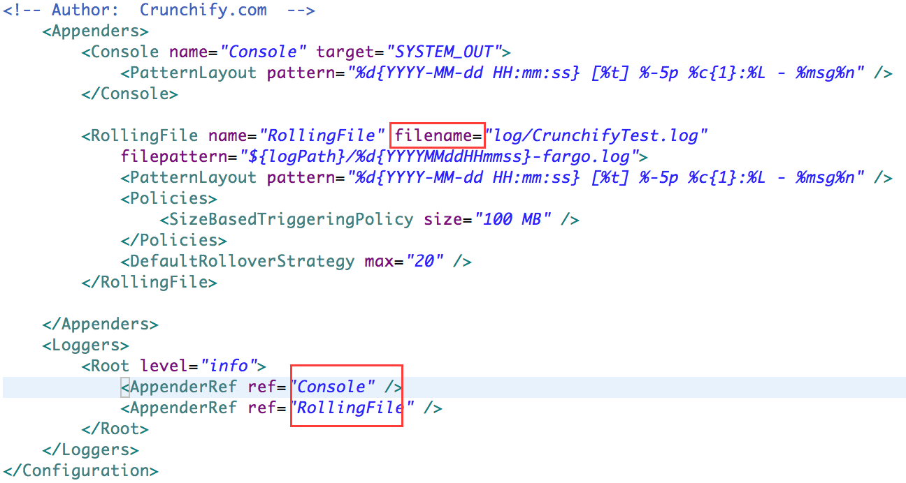 sample log4j2.xml file example