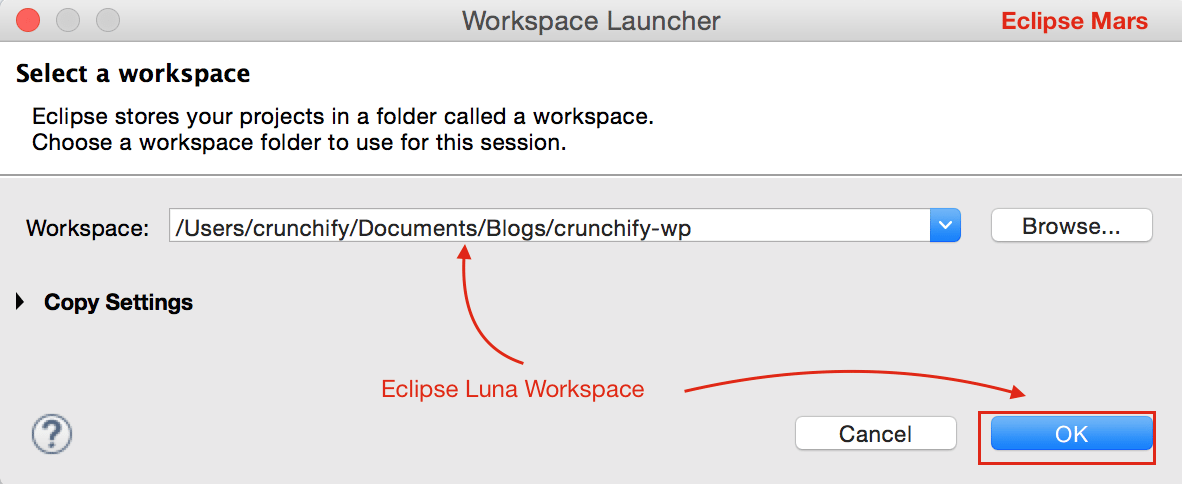 Eclipse Workspace - Luna to Mars