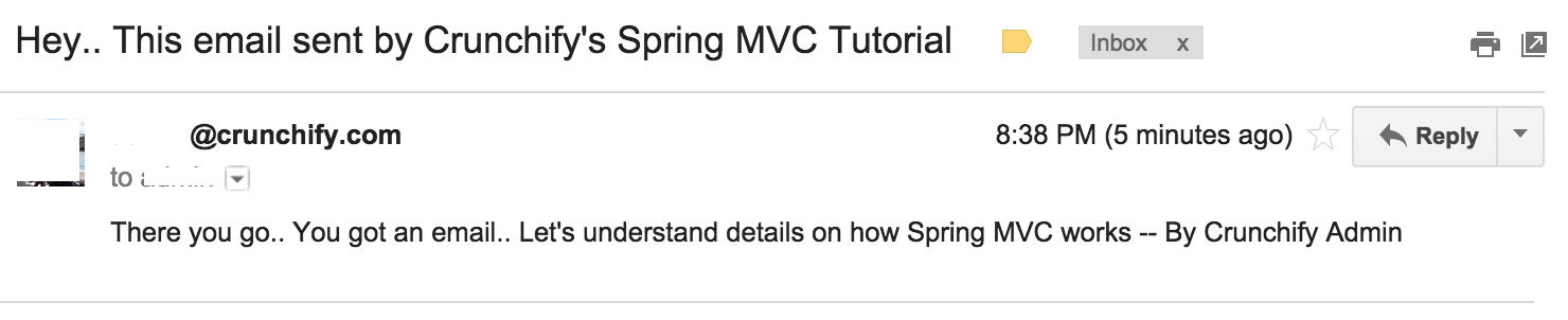 Email sent by Spring MVC 4.1.6 framework