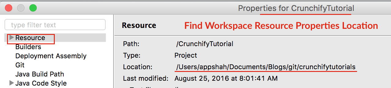 Find Workspace Resource Properties - Crunchify Workspace