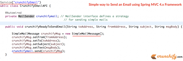 Simple way to Send an Email using Spring MVC 4.x Framework – org.springframework.mail. javamail.JavaMailSenderImpl