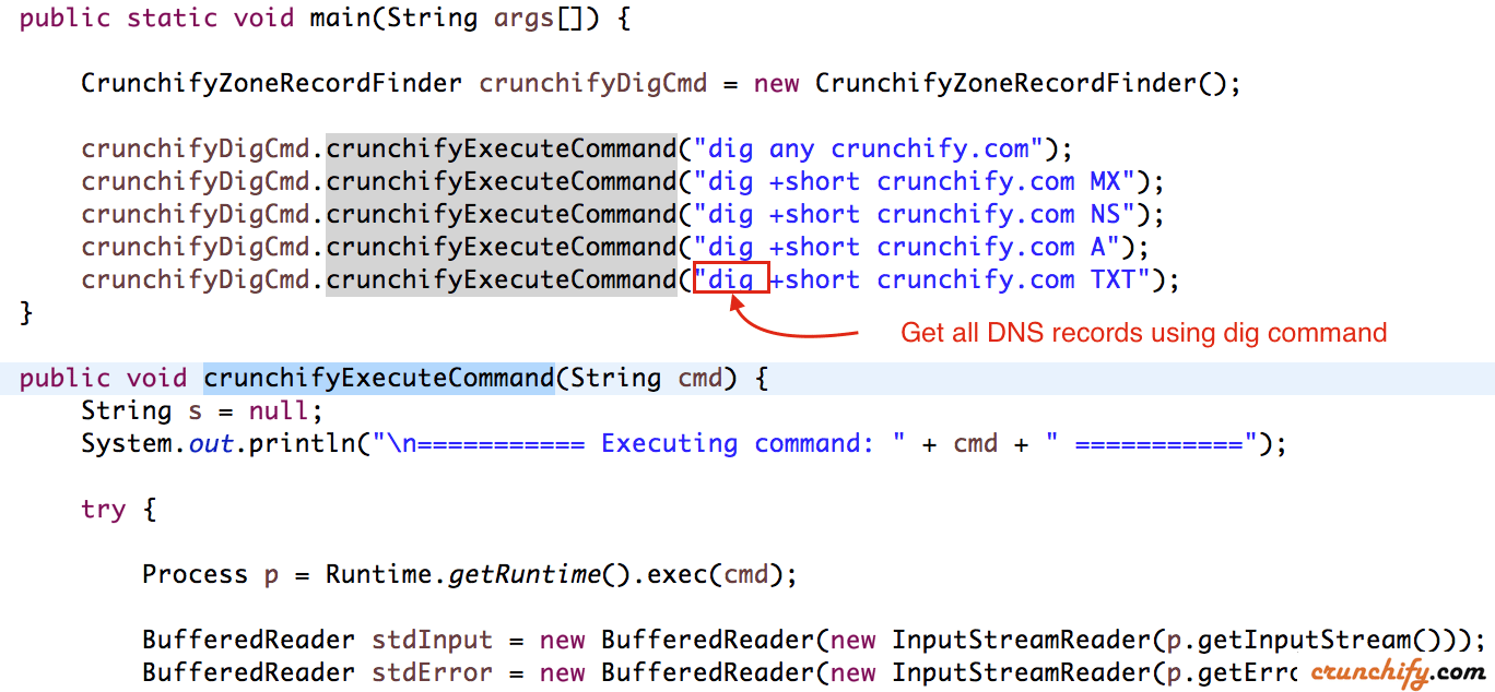 Execute dig command in Java - Get all DNS records