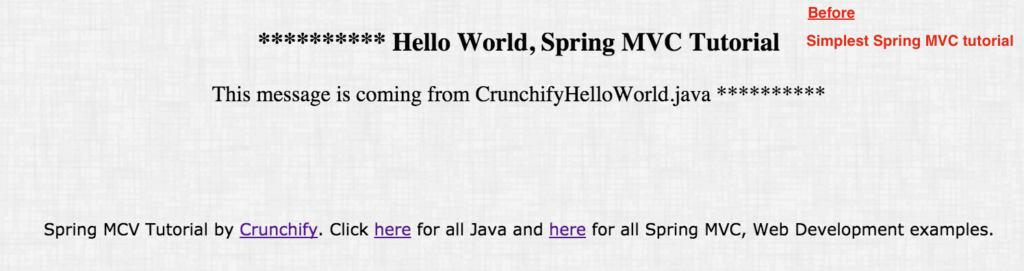 Spring MVC tutorial by Crunchify