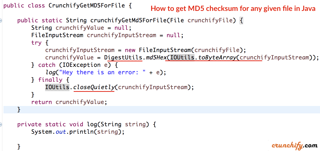 How to get MD5 checksum for any given file in Java? Use commons