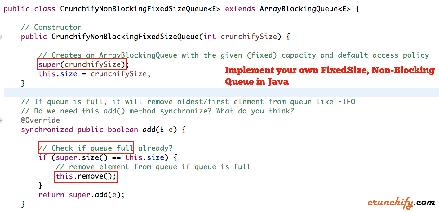 How to create your own non blocking fixed size queue in java implement your own fixedsize non blocking queue in java crunchify baditri Gallery