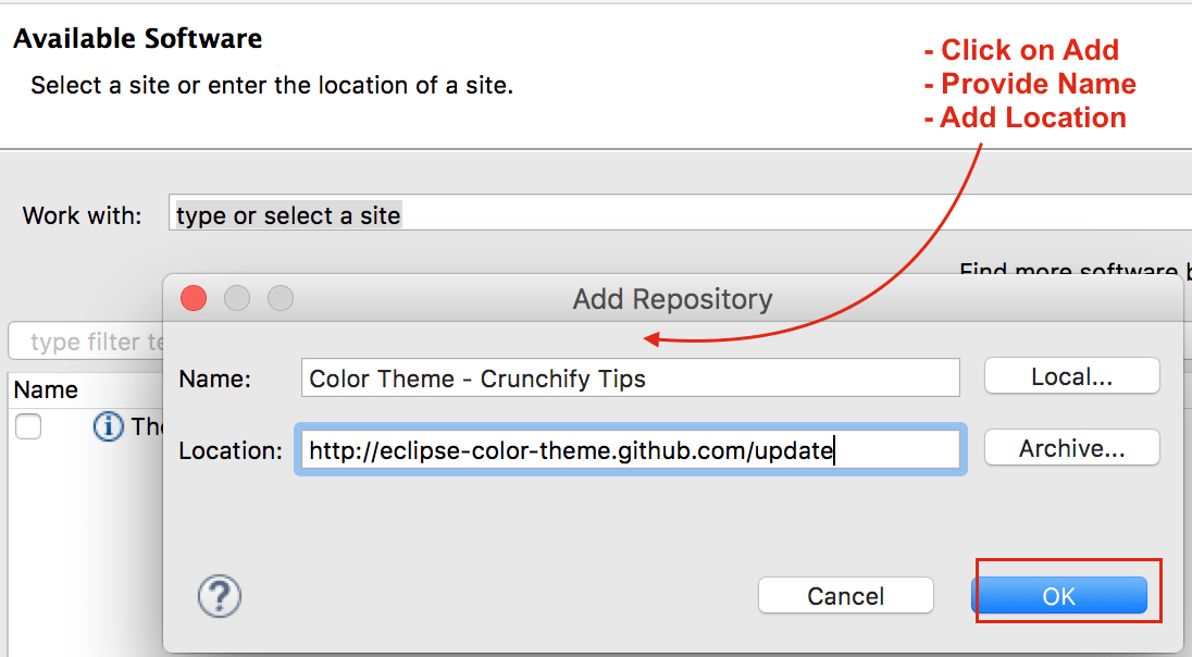 Add Repository in Eclipse - Setup Color Theme