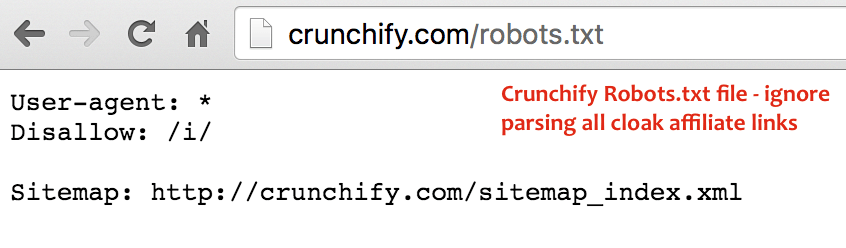 Crunchify Robots.txt file - ignore parsing all cloak affiliate links