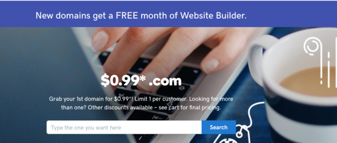 Godaddy 99 cents Domain Name Coupon