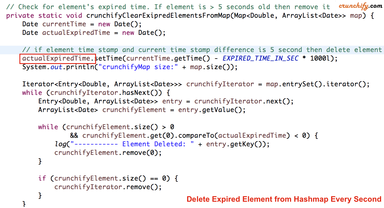 Check for Expired and deleted element from crunchifyMap - complete example