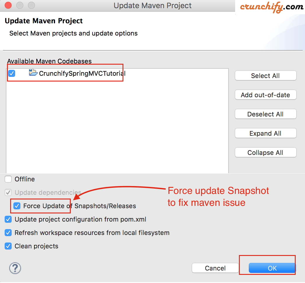 Force Update of Snapshot and Releases for Maven Project in Eclipse