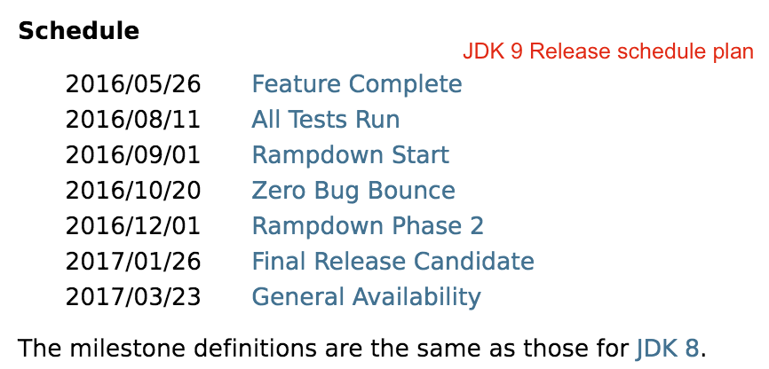 JDK 9 Release schedule plan by Crunchify