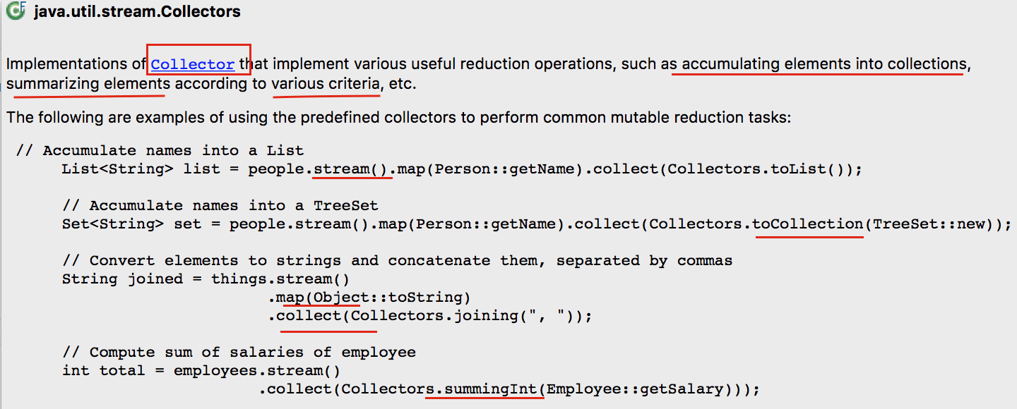 Java8 Stream Collectors() interface information details - Crunchify
